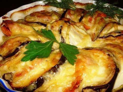 Запеченные овощи под сырной шапкой