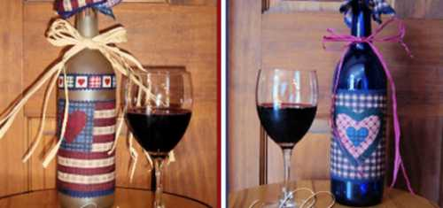 Подарки на День Святого Валентина своими руками Часть 1 декорируем бутылку вина