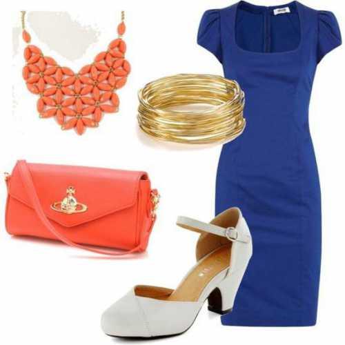 Как и с чем носить голубое платье